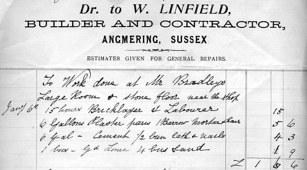 William Linfield, Builder, Invoice