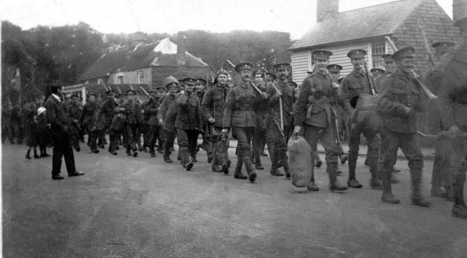 Harold Linfield with the 2nd Battalion RSR marching through Lydd 1914.