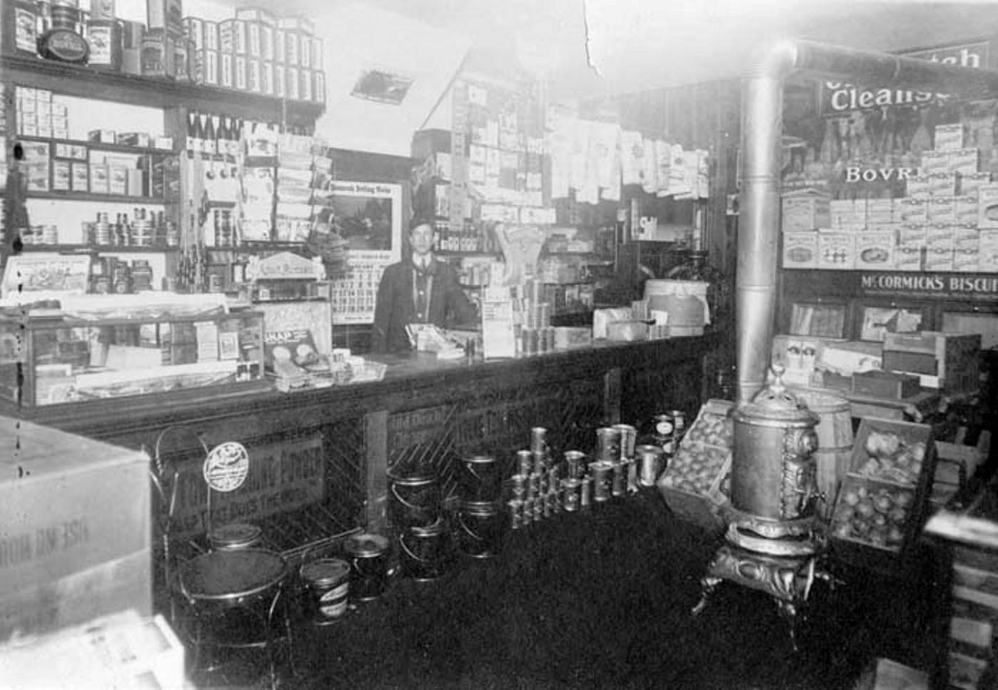 Inside view of the Linfield grocery store at 862 2nd Street, Medicine Hat c.1920