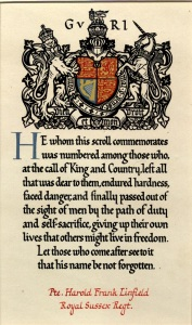 The memorial scroll issued to commemorate the life of Harold Frank Linfield
