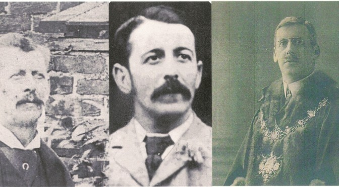 Emily Frances Linfield's 'respectable' Worthing cousins: William Henry Linfield, Relieving Officer for the Worthing Urban District and Registrar of Births and Deaths, Arthur George Linfield, Fruit Grower, and Frederick Caesar Linfield, pictured in his mayoral robes in 1906