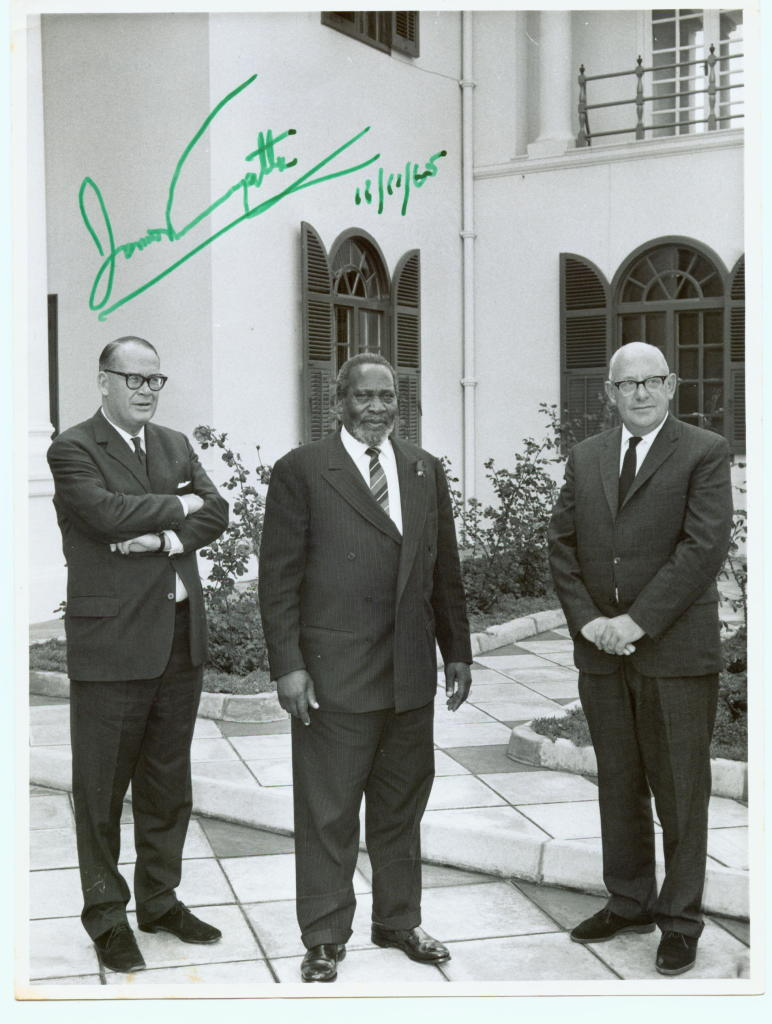 Fig.10 (L to R): Jim Linfield, President Kenyatta and Bill Luckin at State House, 11 November 1965