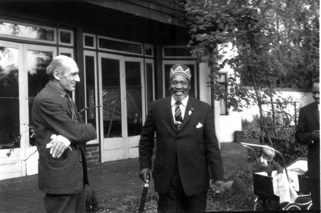 Fig.9 Roy Armstrong and his former tenant meet for the first time in 17 years, October 1963. Armstrong's main claim to fame was the foundation of the inspirational Weald and Downland Open Air Museum at Singleton, West Sussex in 1970. His acclaimed 'History of Sussex', first published in 1961, has never been out of print.