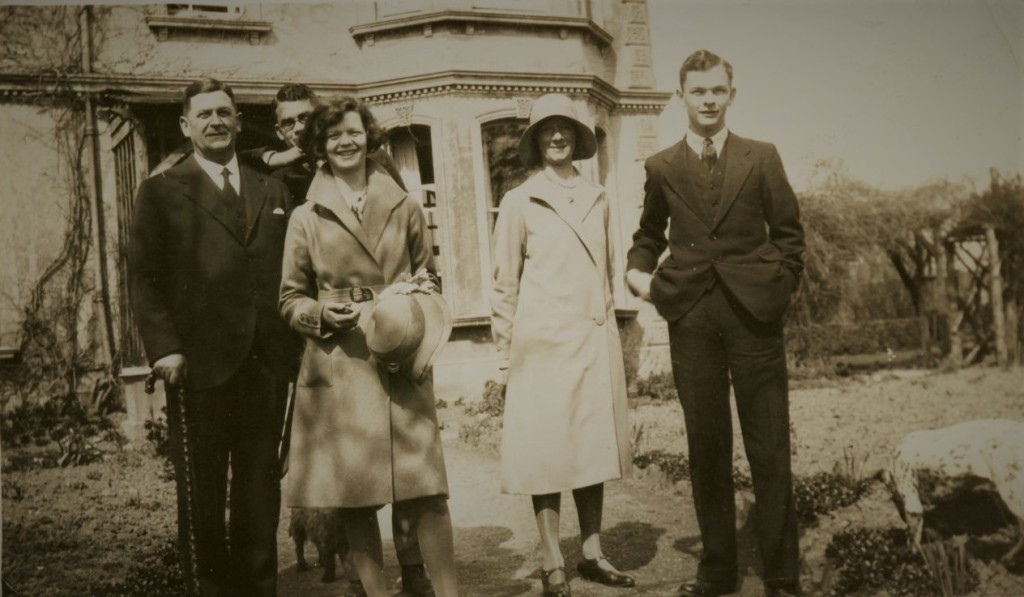 Fig. 6: Arthur, with (from left) eldest son Jim, daughter Mollie and far right, son Peter, taken about 1933