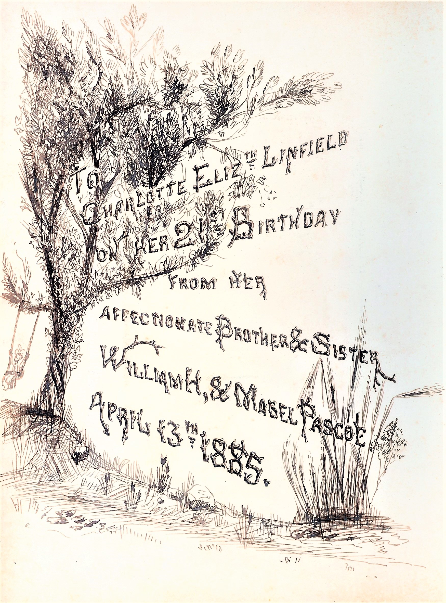 Fig. 1 Ink drawing inside front cover of album, 1885