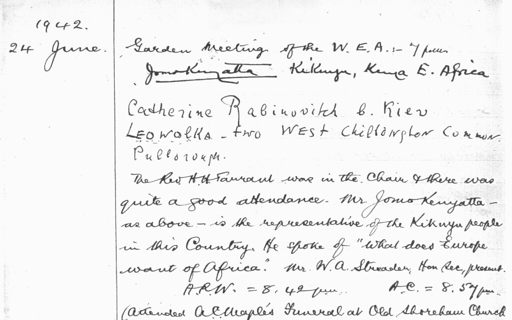 "Fig.7 Diary extract showing details of the WEA Garden Meeting on 24 June 1942 when Kenyatta spoke of ""What does Europe want of Africa?"" (see footnote 9). The abbreviations 'A.R.W.' (Air Raid Warning) and 'A.C.' (All Clear) are stark reminders that this was wartime."