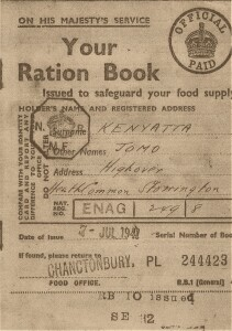 Fig.5 Copy of Kenyatta's Ration Book, issued on 7 July 1941