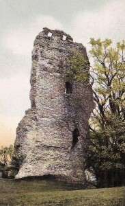 Fig 3 Early 20th century postcard showing the solitary remaining wall of the keep, still standing some 76ft in height.